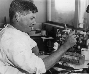 Burnet working in the lab