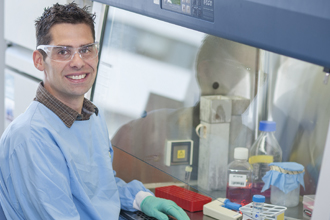 Dr Daniel Gray in the laboratory