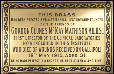 Gordon Clunes McKay Mathison commemorative plaque