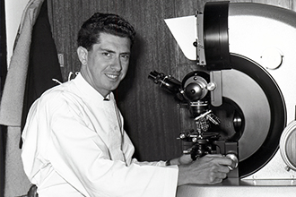 Jacques Miller in the lab in the 1960s