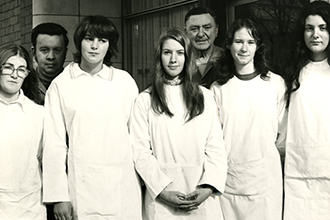 Mandy Cranwell (second from left) working at the Institute in the 1970s