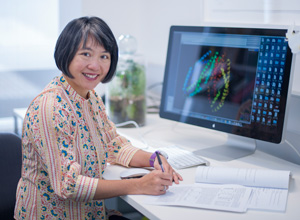 Dr Wai-Hong Tham working in her office