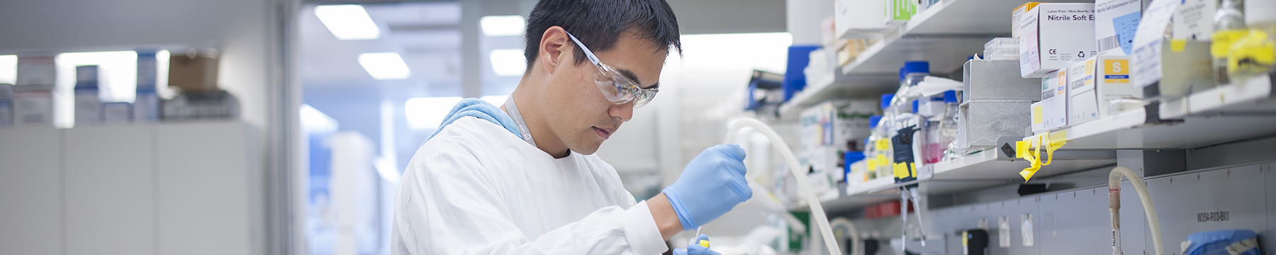 Michael Low working in a lab