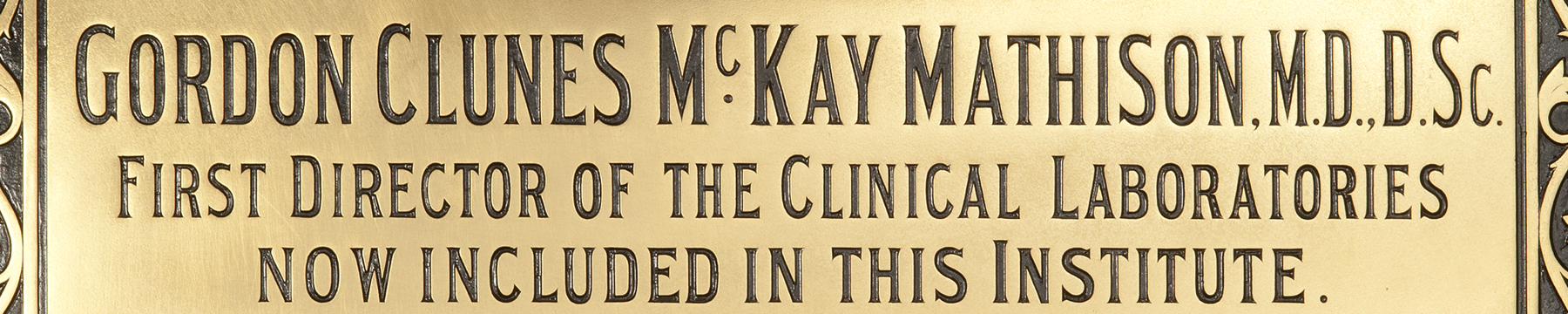 Plaque commemorating Dr Gordon Clunes McKay Mathison