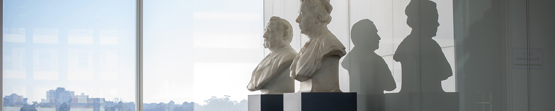 Busts of Walter and Eliza Hall