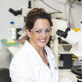 Dr Holly Barker in the lab
