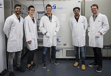 Jex laboratory members with low temperature freezer
