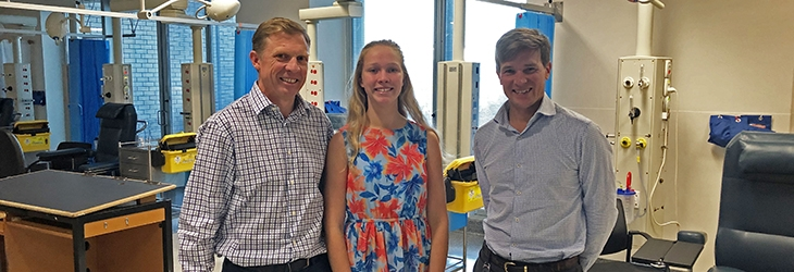 Peter Johnstone, study participant Lucinda Johnstone and Asscoaie Professor John Wentworth