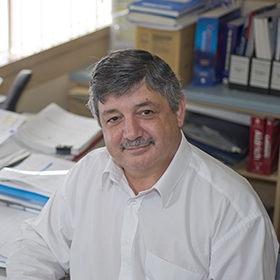 Professor Nicos Nicola in his office