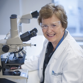 Professor Suzanne Cory at a microscope