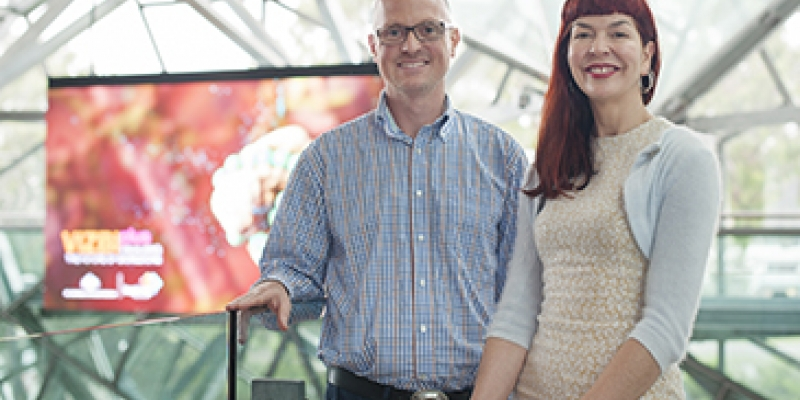 Drew Berry and Maja Divjak in Federation Square at VIZBIplus launch
