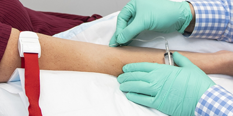 Patient having blood test