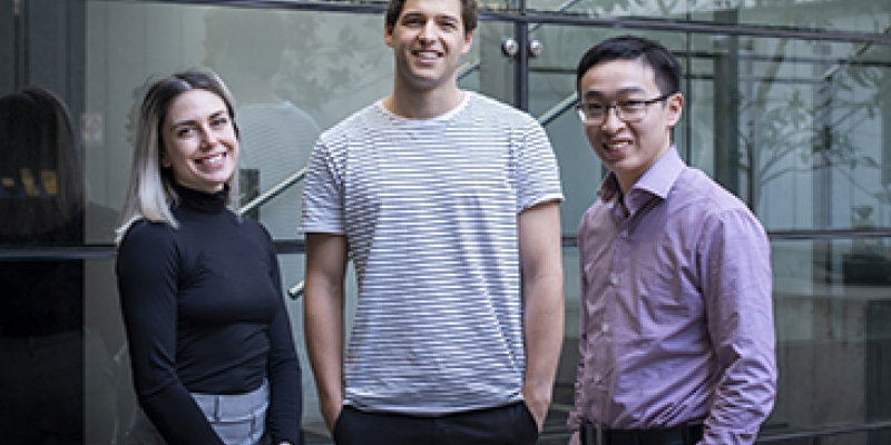 (L–R) Past Metcalf Scholars Kristen Scicluna, Adam Lipszyc and Victor Shiyu Lin.
