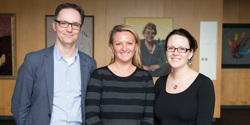 Muscular dystrophy researchers with advocate supporter