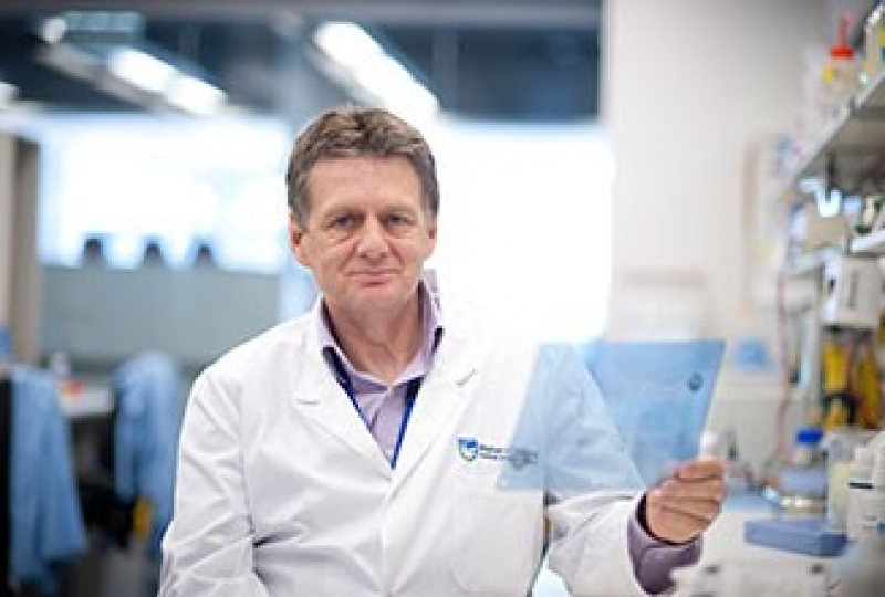 Professor Alan Cowman holding a blue transparency sheet in a lab