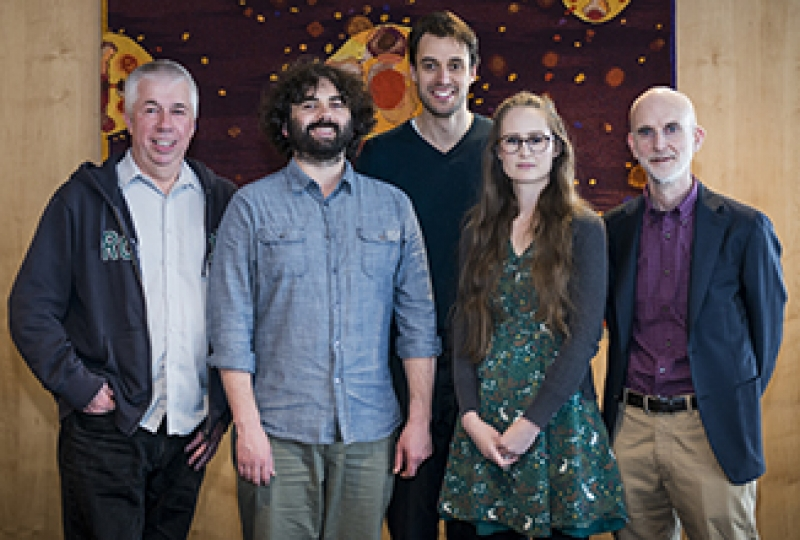 Research team standing together and smiling including Professor Stephen Nutt, Dr Rhys Allan, Dr Tim Johanson, Dr Hannah Coughlan and Professor Gordon Smyth.
