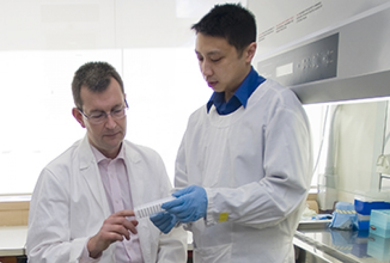Dr Bob Anderson and Dr Jason Tye-Din in the lab working on a coeliac disease vaccine