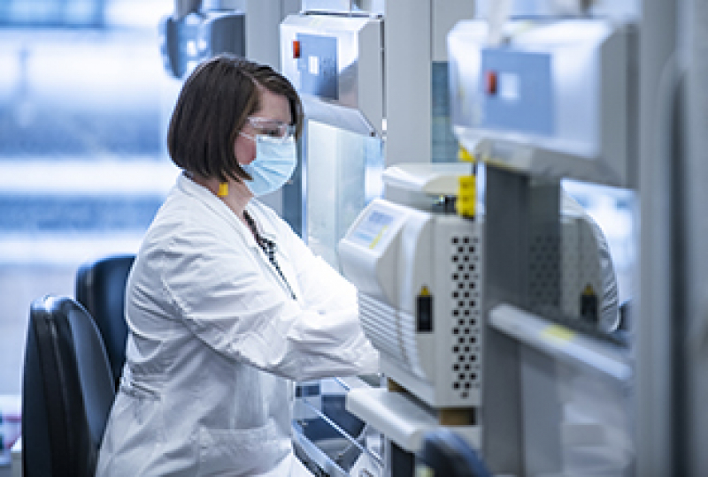 Researcher using lab technology