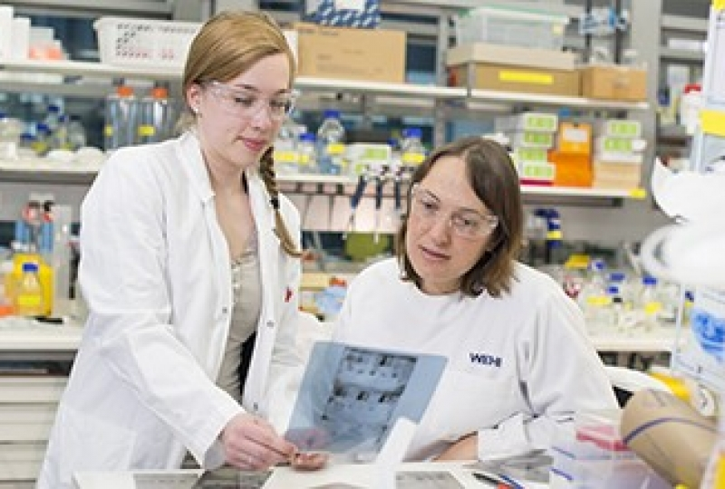 Ms Maria Tanzer and Dr Joanne Hildebrand in a lab