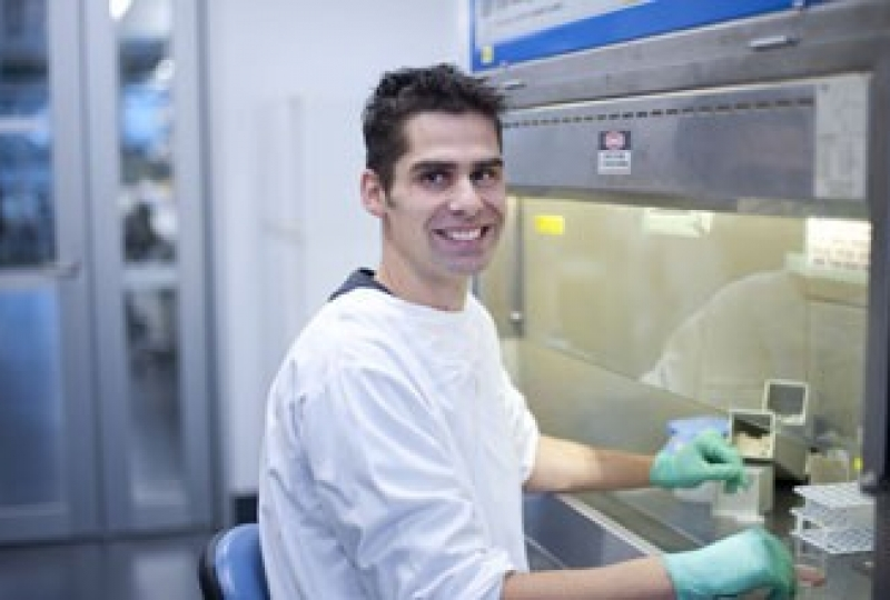 Dr Daniel Gray in a lab