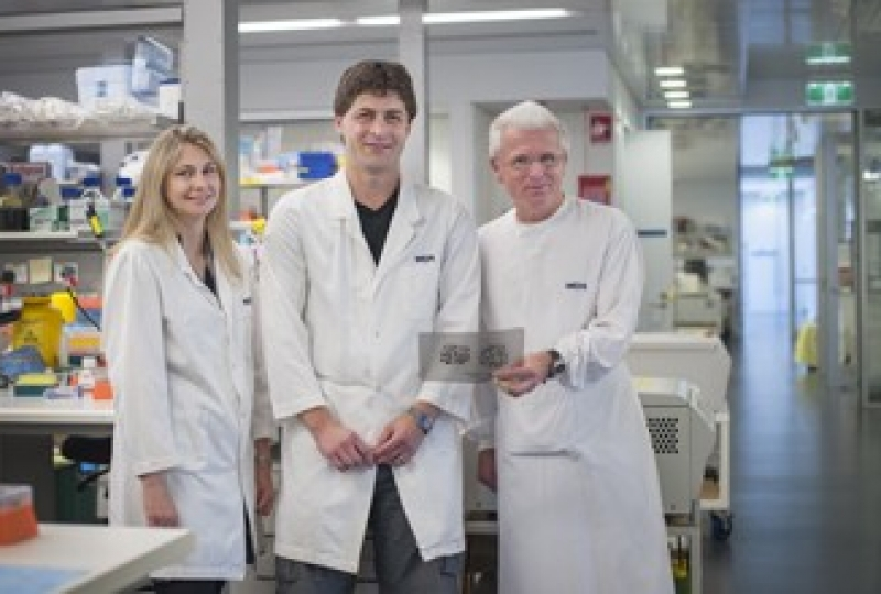Dr Gemma Kelly (left), Dr Marco Herold (centre) and Professor Andreas Strasser  in a lab