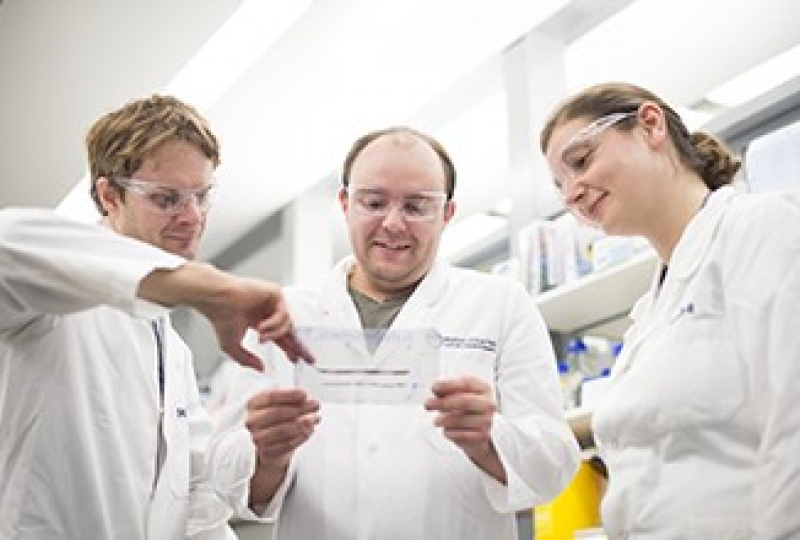 Mr James Rickard, Mr Joseph Evans and Ms Joanne O'Donnell (L-R) in a lab