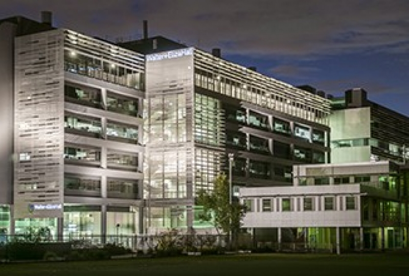 The Walter and Eliza Hall Institute building at night