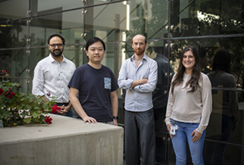 Four researchers photographed in the WEHI courtyard