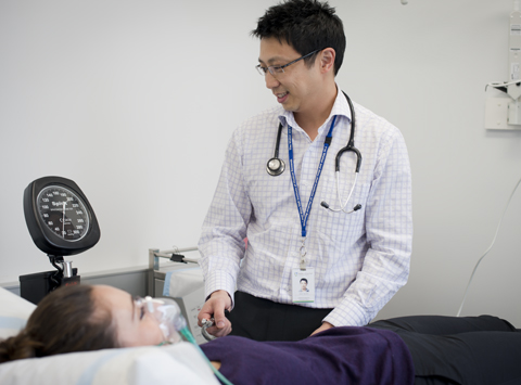 Dr Jason Tye-Din with clinical patient