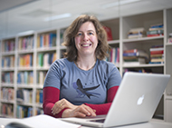 Professor Melanie Bahlo in the library