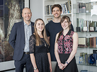 Professor Doug Hilton pictured with three Metcalf Scholars