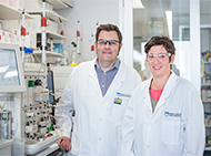 Dr James Murphy and Dr Isabelle Lucet in the lab