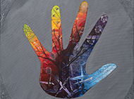 Colourful artwork of hand, by Robert Young