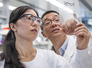 Two scientists standing in a lab, close up, looking at a film