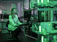 Researcher in a screening laboratory